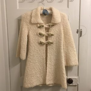 RARE Anthro Sleeping in Snow bouclé sweater coat